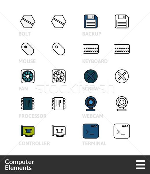 Nero colore contorno icone sottile line Foto d'archivio © sidmay