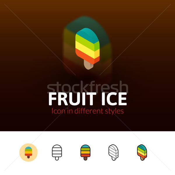 фрукты льда икона различный стиль цвета Сток-фото © sidmay