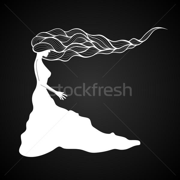 Сток-фото: женщину · долго · вьющиеся · волосы · черно · белые · рук · моде