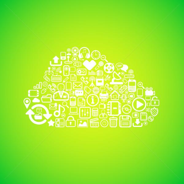 コンピュータ 雲のアイコン インターネット 抽象的な サーバー 背景 ストックフォト © sidmay