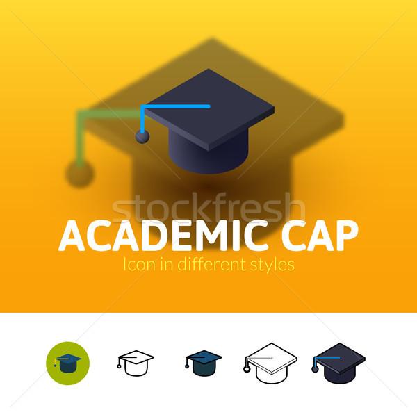 Akademicki cap ikona inny stylu kolor Zdjęcia stock © sidmay