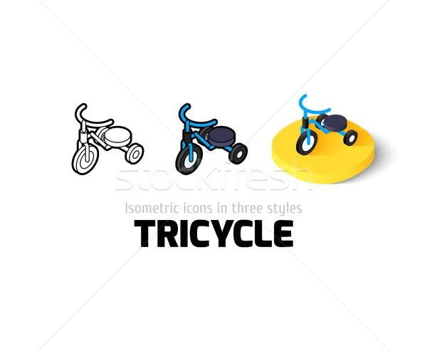 üç tekerlekli bisiklet ikon farklı stil vektör simge Stok fotoğraf © sidmay