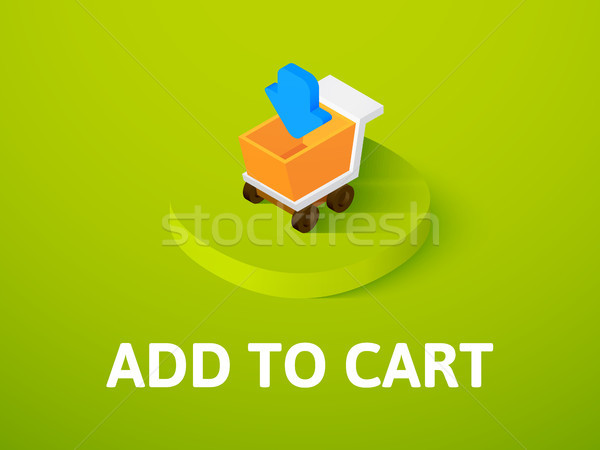 Add to cart isometric icon, isolated on color background Stock photo © sidmay