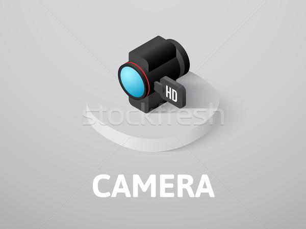 Foto stock: Câmera · isométrica · ícone · isolado · cor · vetor