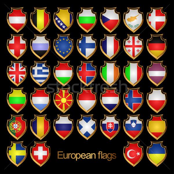 Avrupa bayraklar Avrupa form rozetler Stok fotoğraf © Silanti