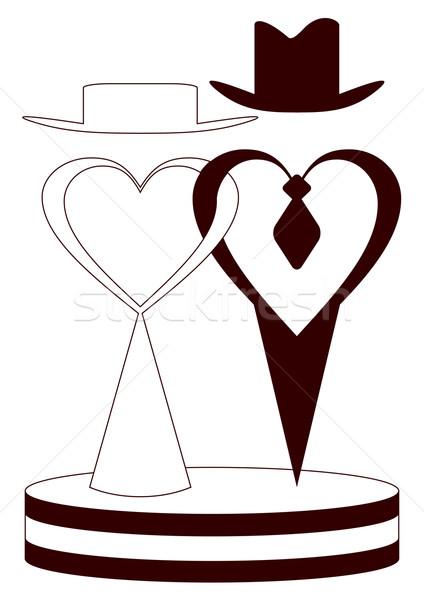 Verlobte Silhouetten weiß Hochzeit Mann Zeichen Stock foto © Silanti