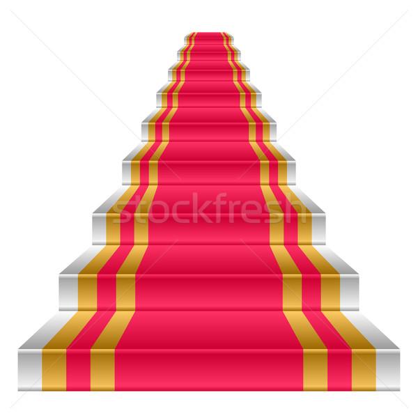 Foto d'archivio: Scala · bianco · coperto · tappeto · rosso · interni · oro