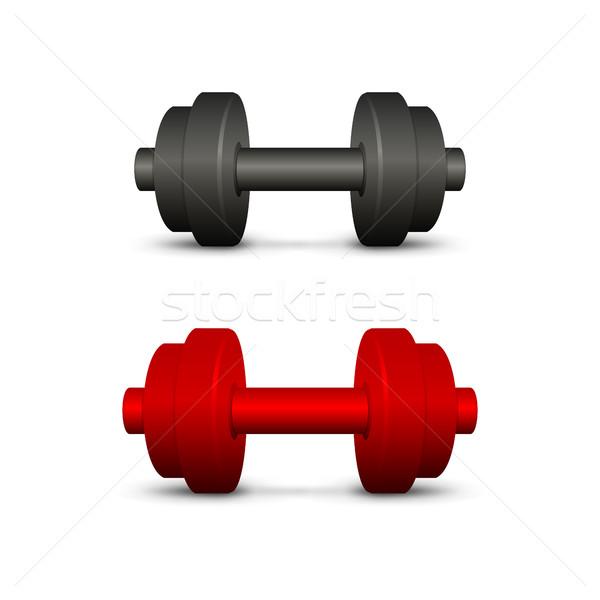 Fekete piros súlyzók szett fehér sport Stock fotó © Silanti