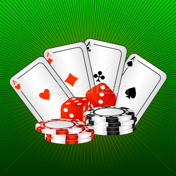 Cartes à jouer dés quatre jeu os vert Photo stock © Silanti