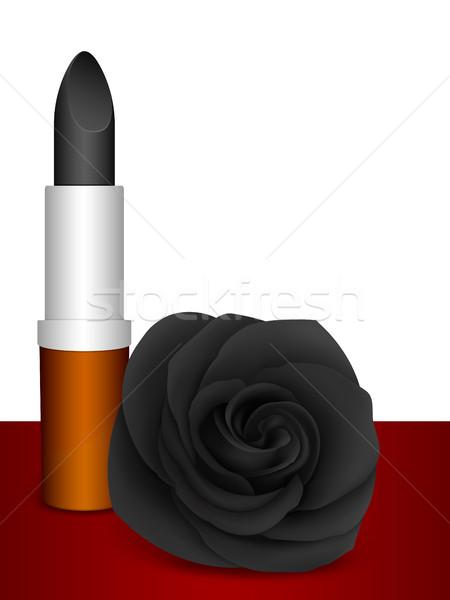 Black lipstick & black rose  Stock photo © Silanti