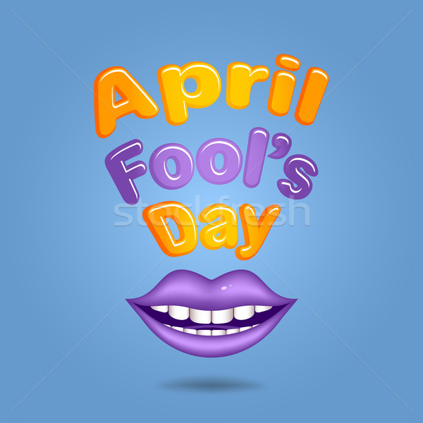 Stock photo: April Fool's Day. Violet  lips