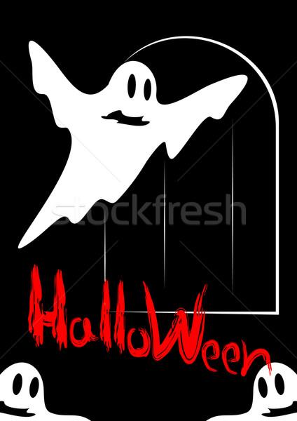 Halloween bianco fantasmi rosso iscritto nero Foto d'archivio © Silanti