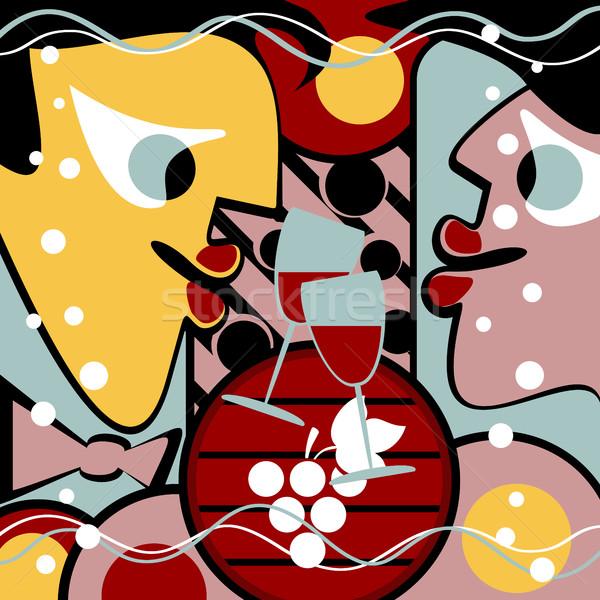 Surrealista personas vino copas de vino forma resumen Foto stock © Silanti