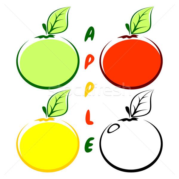 ストックフォト: リンゴ · 4 · リンゴ · 白 · 異なる · 色