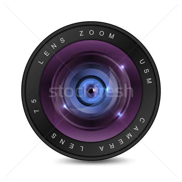 Kameralencse üveg fekete fotó lencse kör Stock fotó © Silanti