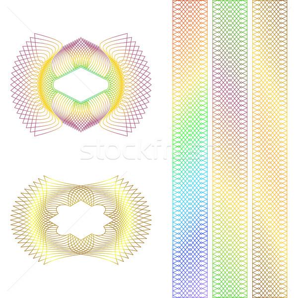 Dekorativ Grenzen weiß Rahmen drucken Muster Stock foto © Silanti