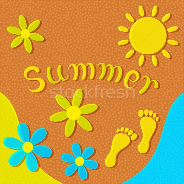 Soyut yaz güneş çiçekler ayak izleri Stok fotoğraf © Silanti