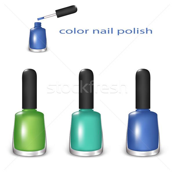 Cor unha polonês conjunto verde turquesa azul Foto stock © Silanti