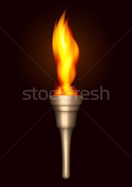 Brûlant lampe de poche réaliste sombre résumé signe Photo stock © Silanti