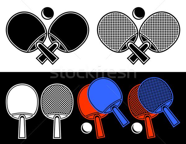 Masa tenisi form amblem beyaz farklı siyah Stok fotoğraf © Silanti