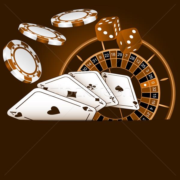 Carte da gioco dadi chip roulette divertimento casino Foto d'archivio © Silanti