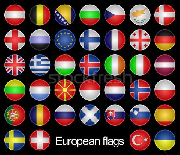 Foto d'archivio: Bandiere · set · pulsanti · paesi