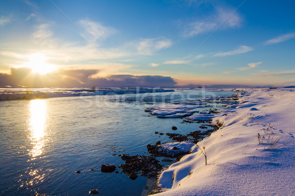 Winter sunset in Iceland Stock photo © silkenphotography