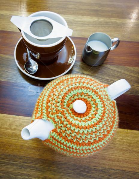 Bule chá confortável jarro leite Foto stock © silkenphotography