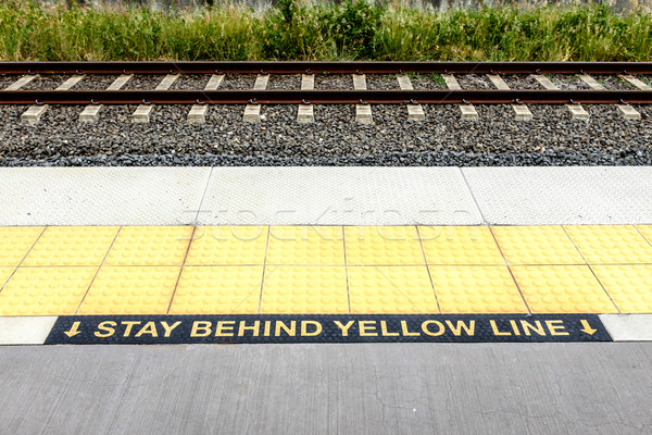 Warning Stay Behind the Yellow Line Stock photo © silkenphotography