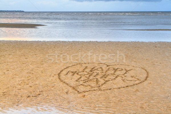 Happy Mother's Day written in the sand Stock photo © silkenphotography