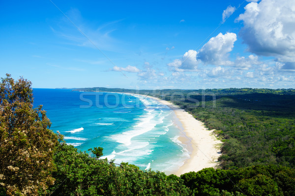 Photo stock: Plage · horizontal · vue · regardant · vers · le · bas · océan · bleu