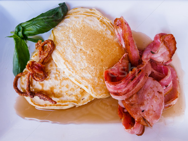 Buttermilk Pancakes with Bacon Rashers and Maple Syrup Stock photo © silkenphotography