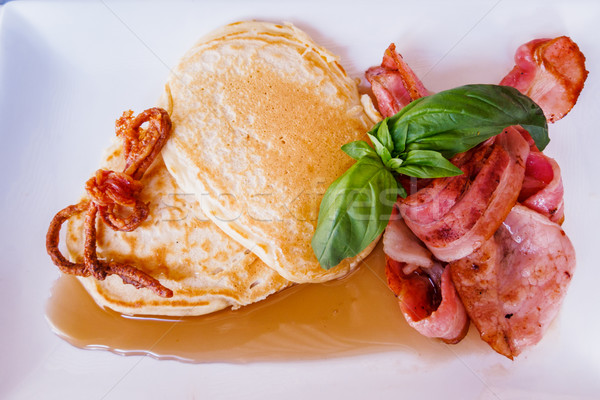 Bacon Pancakes with Maple Syrup Stock photo © silkenphotography