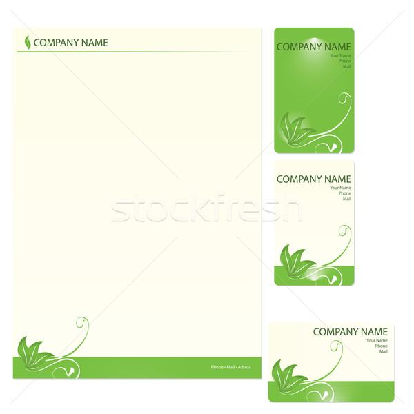 Plantilla establecer tres verde floral Foto stock © simas2