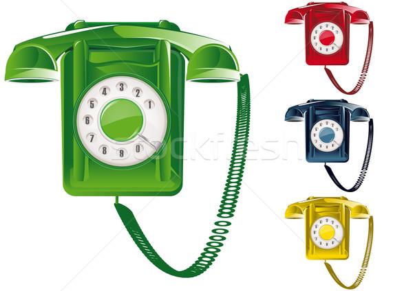 Retro teléfono ilustración global negocios rojo Foto stock © simas2