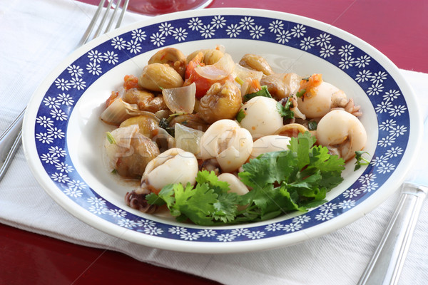Yemek balık salata domates taze diyet Stok fotoğraf © simas2