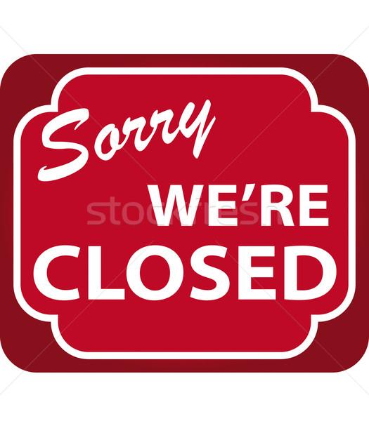 Cerrado signo vector compras rojo Foto stock © simas2