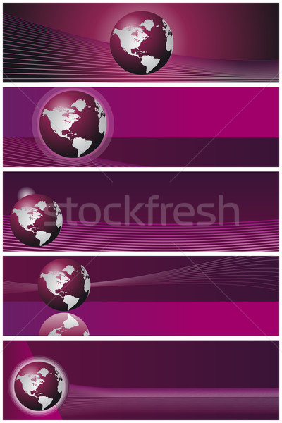 Iş afişler şablon ayarlamak beş yatay Stok fotoğraf © simas2