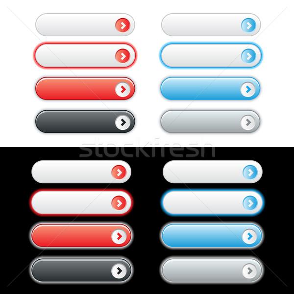 Stockfoto: Web · plastic · knop · ingesteld · Rood · Blauw