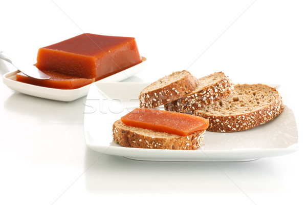 Birsalma kenyér lekvár szeletek magok tányér Stock fotó © simas2