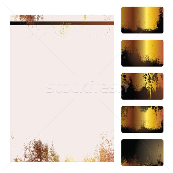 Grunge plantilla establecer cinco oro Foto stock © simas2