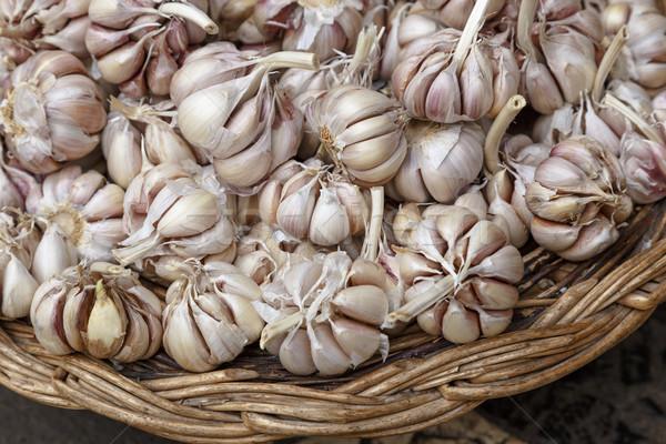 Sarımsak sepet gevşek satış pazar gıda Stok fotoğraf © simas2