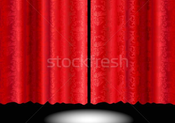 Rojo seda cortina ilustración sedoso floral Foto stock © simas2