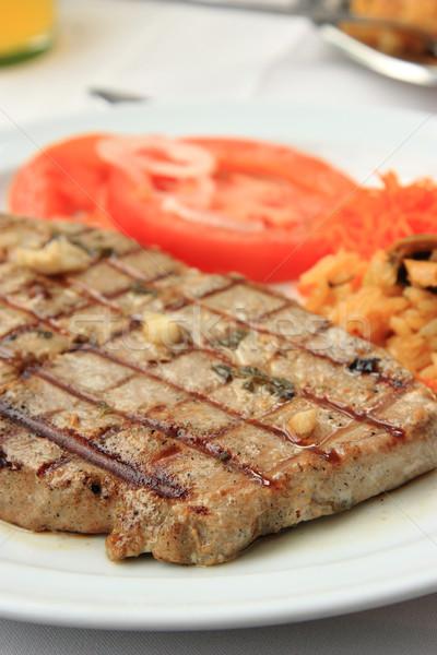 ızgara ton balığı biftek pirinç domates gıda Stok fotoğraf © simas2
