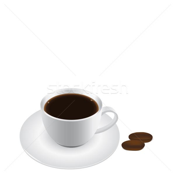 Kahve kahve fincanı kahve çekirdekleri siyah kahvaltı sigara içme Stok fotoğraf © simas2