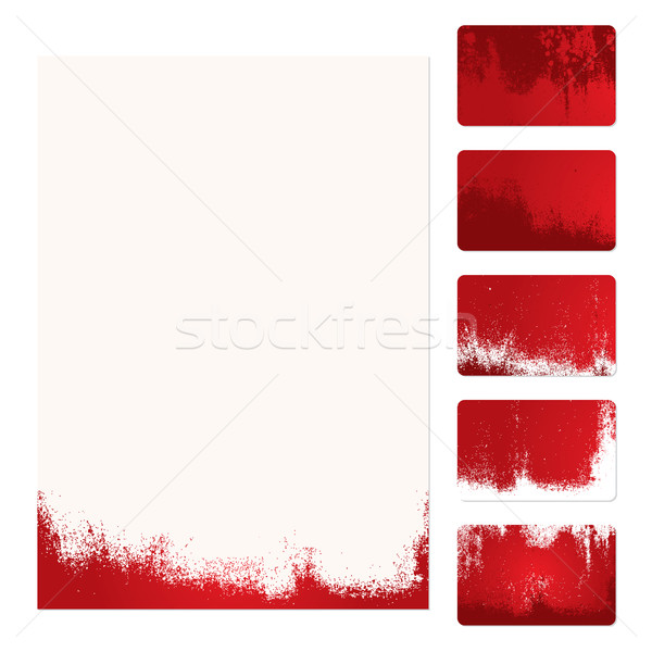 Grunge plantilla establecer cinco rojo Foto stock © simas2