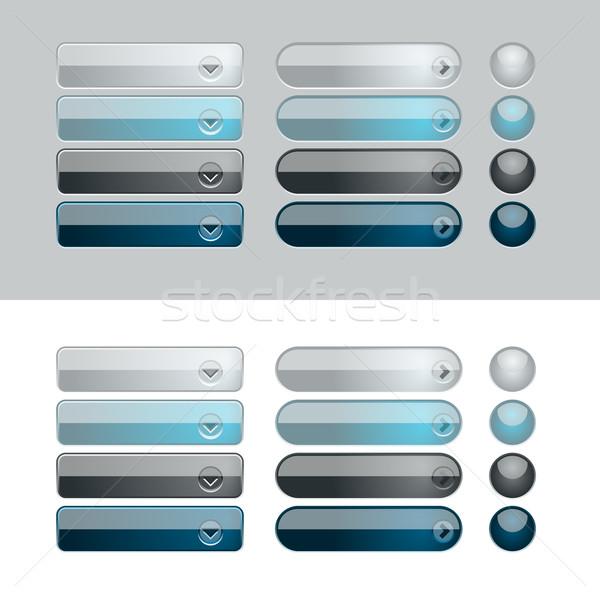 Web parlak mavi siyah düğmeler Stok fotoğraf © simas2