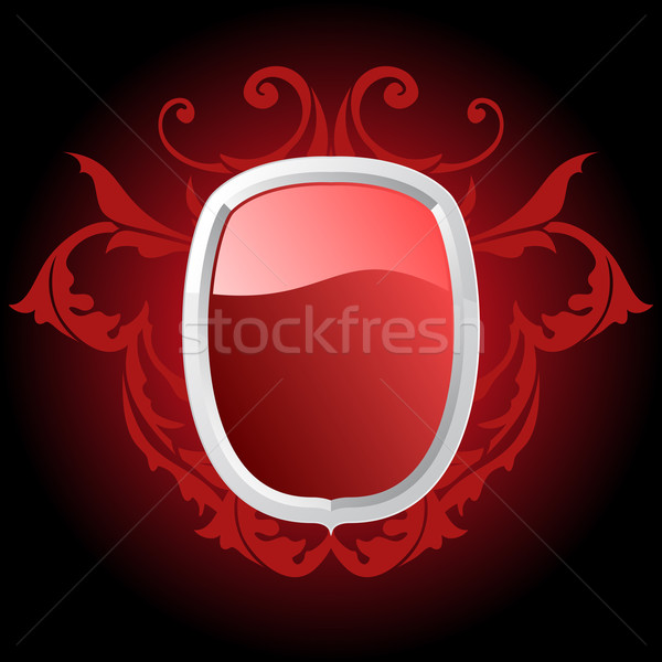 Parlak kırmızı kalkan örnek karanlık Metal Stok fotoğraf © simas2