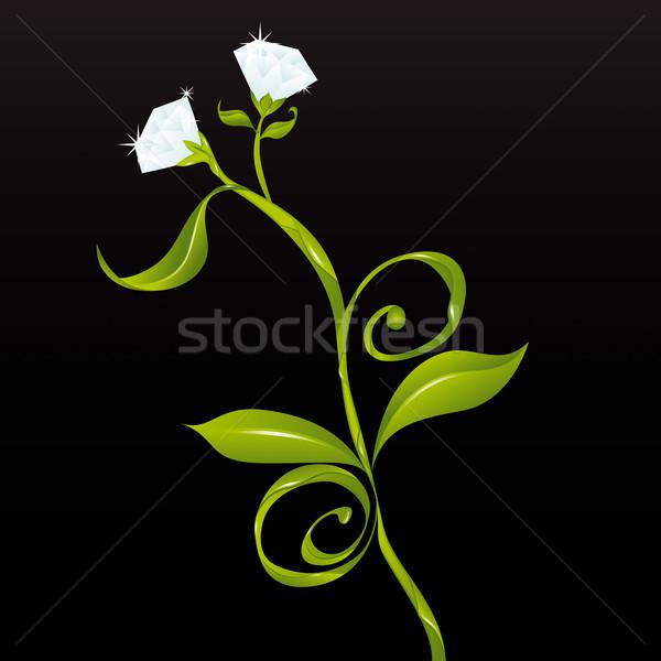 Flores diamantes vector ninas mejores amigos perfecto Foto stock © simas2