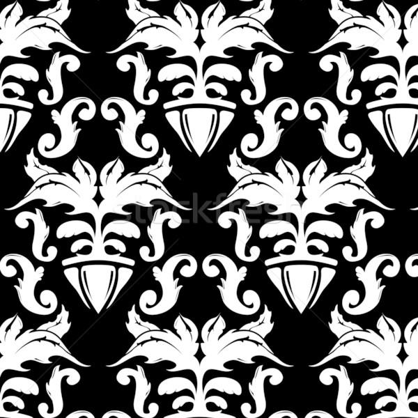 Kwiatowy wzór ilustracja czarno białe vintage charakter Zdjęcia stock © simas2